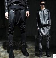 CR-75 2014 new Hip hop harem baggy pants autumn Men Harem Pants Hip Hop baggy Sports drop crotch men sweatpants leather joggers