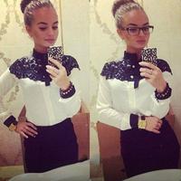 New Autumn Women Long Sleeve Shirts Top Quality Chiffon Blouse Collar Shirt Tops
