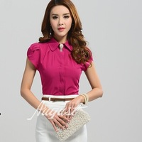 New Lady Office Shirt  2014 Work Wear Women's Tops With Diamonds Butterfly Sleeve Turn-Down Collar Rose Red White Blouse 2590