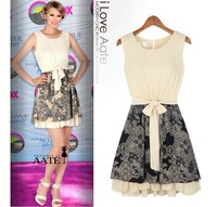 Ladies stitching lace sleeveless dress bow pleated lace dresses summer fashion court style vintage for women
