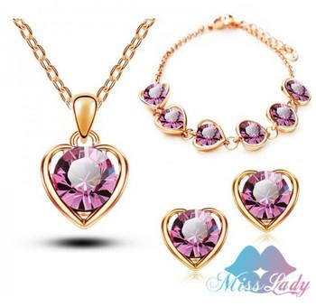 2014 новое поступление 18 К позолоченный кристалл в форме сердца мода костюм ювелирные ...
