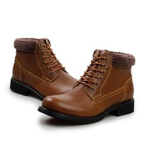Cold Winter Men Warm Fashion Boots Martin Boots EU 38-43 Fur Lining Lace-up Style Man Casual Leather Ankle Shoes