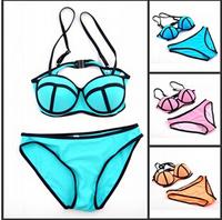 2014 Women's Swimwears Neoprene Bikinis Hot sell triangl style triangl style Bikinis push up bikini set Free Shipping af1454