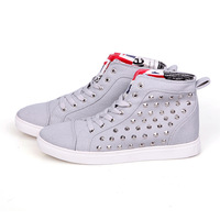 Korean Rivet Decor Man Fashion Sneakers Eu 39-44 High Top Style Autumn & Spring Young Men Leisure Canvas Ankle Boots