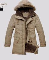 2014 winter jacket men clothing cotton-padded keep warm fur hooded long coat jaqueta masculina outdoor