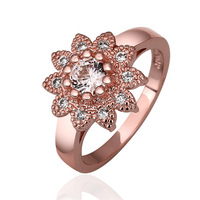 VGR723 Great Price Top Quality Sunflower Cubic Zirconia 18K Rose Gold Plated Wedding Engagement Rings for Women