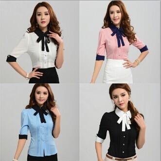 Work Wear Office Shirt Женщины's Верхs 2014 Blouses Slim Half Рукав Turn-Down ...