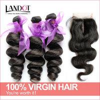 Peruvian Loose Wave With Closure 4Pcs Lot Unprocessed 6A Virgin Peruvian Hair Extension Add Body Wave Lace Closures Landot Hair
