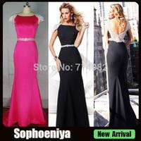 EVT92057 Vestido De Festa 2014 Real Low Back Cheap Long Round Neck Evening Dresses
