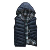 Reversible Winter Man Warm Vest Jackets 2014 Ourdoor Clothing Plus Size L-3XL New Men Hooded Plaid Coats