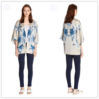 YG547-1 Free shipping fashion 2014 autumn women blouses loose blusa manga longa floral printed casual kimono cardigan shirts