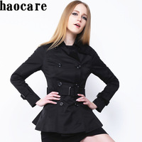 New 2014 autumn winter short trench black ruffles double breasted belt women trench coat plus size overcoat outwear DF14F002
