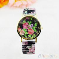 Women's Fashion Geneva Black Peony Flower Quartz Analog Stretchable Wrist Watch 1NUF