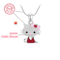 New fashion 925 sterling silver pendant necklace cubic zircon cute hello kitty pingente jewelry for Christmas/Valentine Day Gift