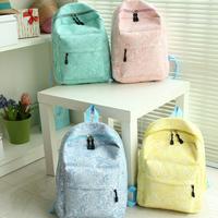 FashionKorean Women backpack Lace cute School bags Fresh canvas printing backpack  women's Casual daypacks blue pink Green B017