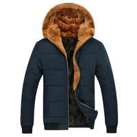 Russian Winter Men Thick Fur Down Coats 2014 Male Warm Outerwear Big Size M-3XL Zipper Fly Man Ourdoor Hooded Parka Khaki / Blue