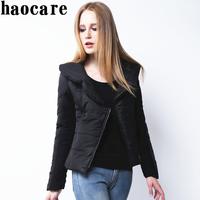 Women new 2014 winter down coat black turn-down collar asymmetric zip short down jacket  casual 3XL plus size parka DF14M007