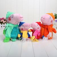4Pcs/Lot Winter Style Peppa Pig Toys Plush Family Set 19cm George Peppa 30cm Daddy Mummy so soft