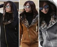 Winter Autumn New 2014 Women Leopard Print Casual Thick Outwear Coat Jacket Zipper Hoodie Outerwear Plus Size Clothing
