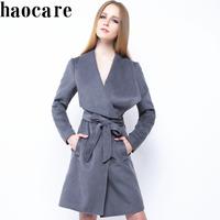2014 new autumn winter women trench coat long dark grey robe style turn-down collar belt wool coat plus size overcoat DF14W005