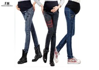 Blue Elastic Maternity Jeans For Pregnant Women Pregnancy Pants Clothes Motherhood Plus Size Clothing SS14P014