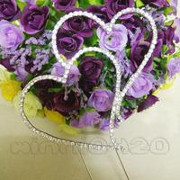 "Hot 1pcs 11cm (4.5"") Silver Diamante Double Heart Monogram Wedding Favor Cake Topper"