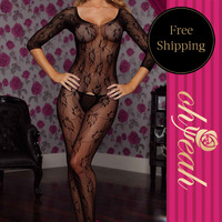H3010 Full Black See Through Sheath With Leaves Printed Bodies Woman Sexy Open Crotch Bodystockings Sexy Lingerie