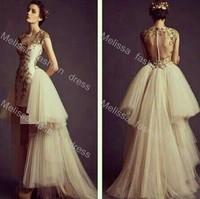 Sheer Back O neckline Short Front Long Back Covered Botton Flowers Applique Tulle Gold and Biege Color Evening Dresses