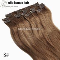 Hair Extension Clip in 100% Human Hair Light Brown 8# 7pcs Set 70g 15'' Full Head Clip in Human Hair Extensions