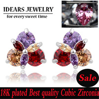 IDEARS Free shipping Alloy 18K Gold Plated Fashion stud Earrings flower with Multicolor Cubic Zirconia For Women Luxury ID000113