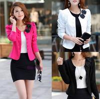 [S-925] 2014 autumn slim women's double breasted short design long-sleeve cardigan blazer short jacket woman coat Free Shipping