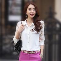 Autumn New Women's Dress Fashion Lace Stitching Slim Lapel Long-Sleeved Chiffon Blouse