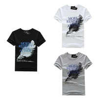 New 2014 fashion men's clothing round neck cotton man t shirts brand casual t shirt Feather men t-shirt