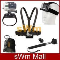 Go pro Sj4000 Accessories Head Belt+Chest Belt+Wrist Strap+Bag+Telescopic Handheld Monopod+Tripod Mount Adapter Gopro Hero 3/2/1