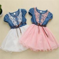 free shipping! New  2015 Summer Girls cowboy dress Girls Lace dress belt Baby girls dress 1-4 years