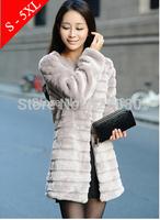 Winter women's 2014 fur  faux fur  overcoat fox fur outerwear plus size 4xl 5xl   long style