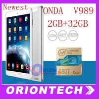 """9.7"""" ONDA V989 Tablet PC Octa core  A80T  Retina 2048*1536 Screen Android 4.4 2GB 32GB Bluetooth 8MP camera Newest Onda Tablet"""