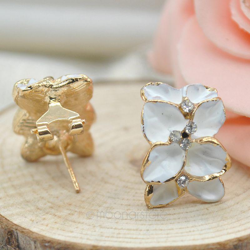 Fashion Black & White Gardenia Flower Earrings, Women Jewelry Rhinestone Ear Studs Earrings, Earing, Free Shipping Y10*MHM027#M5(China (Mainland))