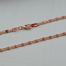 3MM Mens Chain Womens Necklace Flat snail chain 18K Rose Gold Filled Necklace 18KGF Wholesale Jewelry