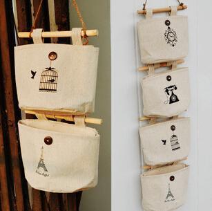 2014 Brand New Wall Fabric Pouch Bag Wardrobe Bedside Nostalgia Cotton Storage Bag(China (Mainland))