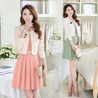 Free Shipping 2014  Autumn  New Pattern  Women  Long Sleeve  Two Sets Of Occupation Dress Suit  Send Brooch Belt 1353