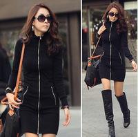 2014 winter new Korean Women Slim long-sleeved cardigan zipper bag hip dress 1222