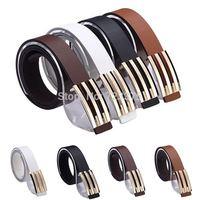 2014 South Korea New Men fashion Smooth buckle belt female Leisure joker Metal buckle belts Men's PU leather belts Free shipping