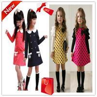 2014 New baby girls autumn dress children spring& autumn clothes bowknot princess polka dot dress