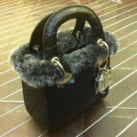 NEW Linen fabric and sheepskin with rabbit fur Women's Tote Autumn and Winter style Bags Original Diorissimo Handbag Designer
