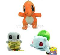 3pcs/set Anime Pokemon Bulbasaur Charmander Squirtle Plush Toys Soft Stuffed Dolls Free Shipping