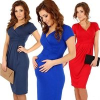 Free shipping 2014 women summer dresses sexy V-neck elasitc fold pure color pregnant casual dresses  clothing for pregnant