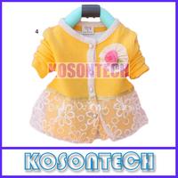 The new 2014 children autumn wear long sleeve girls cardigan cotton dress KS1061