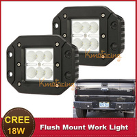 CREE 18W Flush Mount LED Work Light Truck SUV Trailer Wagon Front Bumper Driving Lamp Rear Tail Brake Lamp forJEEP Ford Toyota