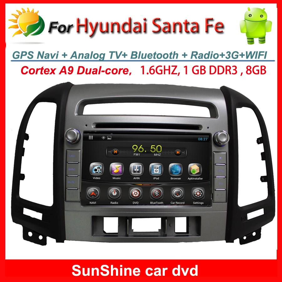 2006-2012 Hyundai Santa Fe Car DVD GPS Navigation System with Android 4.2 car stereo Radio BT TV 3G WIFI Car multimedia player(China (Mainland))